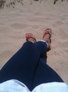 Jeans on the beach work in Geraldton...the sea breeze can be cool.