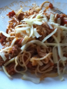 leftover angel hair pasta with turkey bolognese....